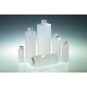 Narrow Mouth Cylinder Bottles With Caps. HDPE