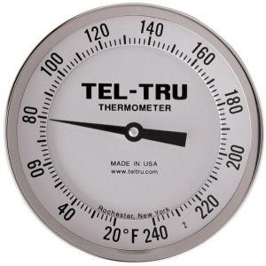 "Adjustable-Angle Head Dial Thermometers, 5"" Face with 4"" Stem"