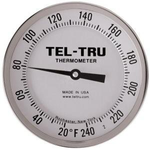 "Adjustable-Angle Head Dial Thermometers, 5"" Face with 6"" Stem"