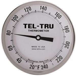 "Adjustable-Angle Head Dial Thermometers, 5"" Face with 12"" Stem"