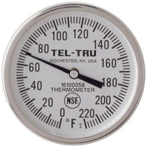 "General Purpose Dial Thermometers, 1-3/4"" Face with 8"" Stem"