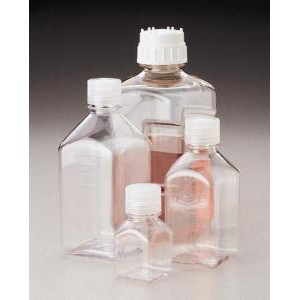 Square Narrow-Mouth Bottle, Graduated. Clear Polycarbonate. Nalgene