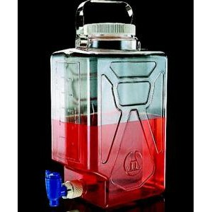 Graduated Rectangular Transparent Carboys, with Spigot. Nalgene