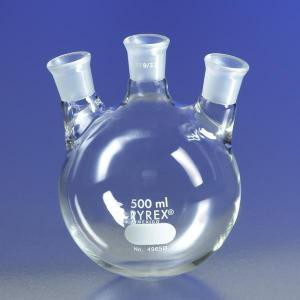 PYREX® Three Neck Distilling Flasks w/Angle Neck, 19/22 TS Joints