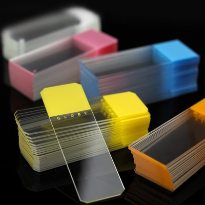 Microscope Slides, Diamond White Glass, 25 x 75mm, Frosted, Color Coded