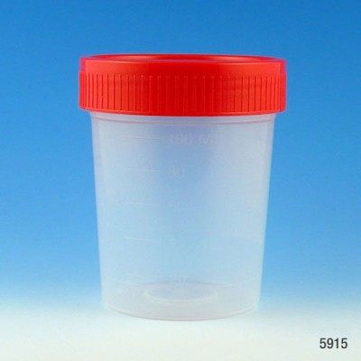 Specimen Container, 4oz, with 1/4-Turn Screwcap and Tri-Lingual ID Label, STERILE, PP, Graduated