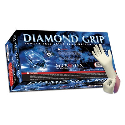 Diamond Grip Powder-Free Latex Exam Gloves