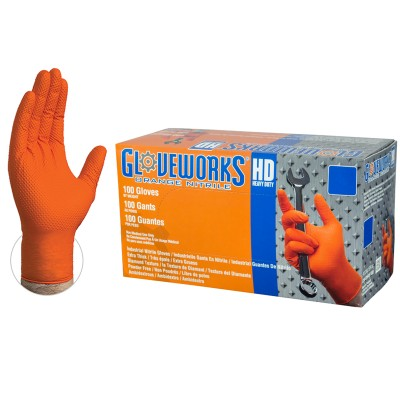 Gloveworks® HD Orange Nitrile Industrial Latex Free Disposable Gloves (Case of 1000)