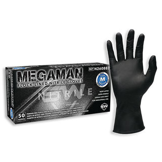 Megaman® Flock-Lined Nitrile Gloves High Durability, Absorbent Lining