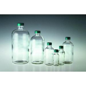Clear Glass Boston Round Bottles. Polyseal Caps Attached