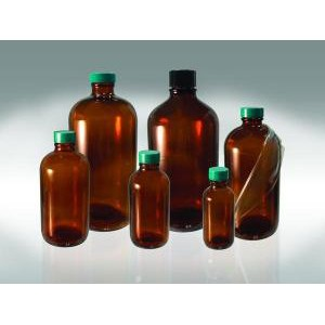 Amber Glass Safety Coated Boston Round Bottles. PTFE Lined Caps