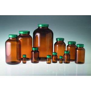 Amber Glass Wide Mouth Packer Bottles. PTFE Lined Caps