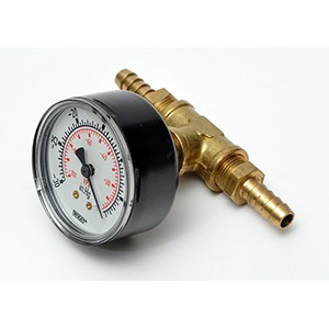 "IN LINE VACUUM GAUGE WITH TWO 3/8"" HOSE BARBS"