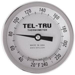 "Bottom Connect Dial Thermometers, 3"" Face with 12"" Stem"